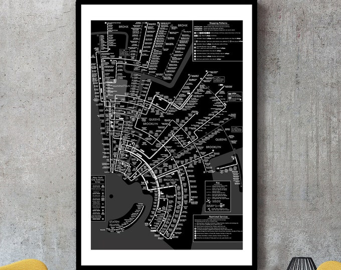 New York City Subway Map (Black and white) Wall Art Decor