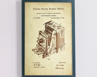 Bellows/ Accordion Folding Camera Patent Poster wall decor (1887 by Thomas Blair)