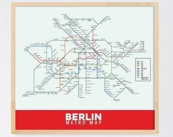 Berlin Subway Map Printed on Refined Aluminum