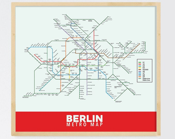Berlin Subway Map Printed on Refined Aluminum