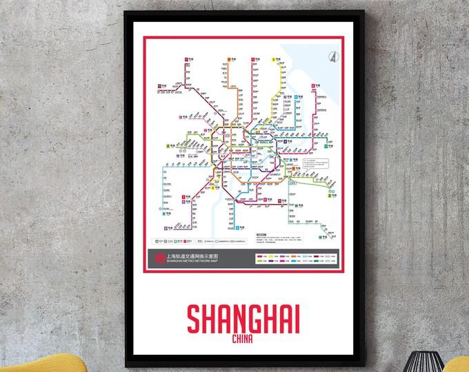Shanghai City Subway Map Wall Art Decor