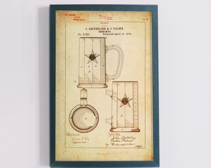 Beer Mug / Drinking Vessel  Patent Poster wall decor (1876 by J. Oesterling & J. Palme)