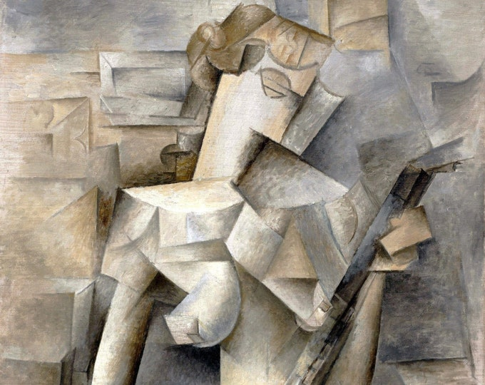 Girl with a Mandolin (1910) by Pablo Picasso Masterpiece Reproduction Printed in Refined Aluminum