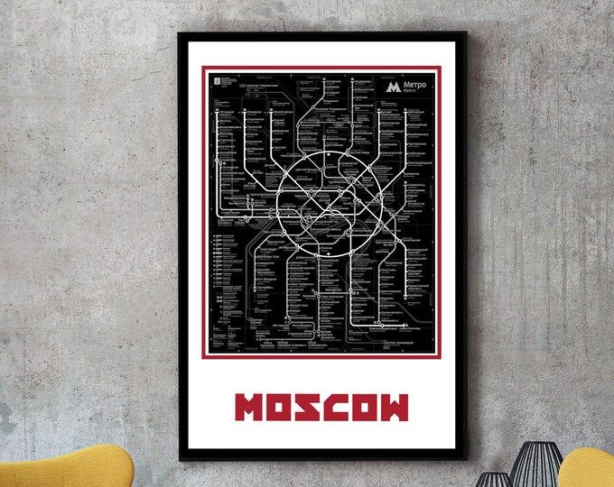 Moscow Subway Map Wall Art Decor