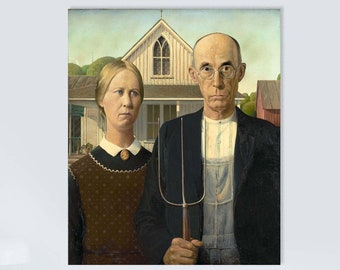 American Gothic -Grant Wood  (1930) Masterpiece Reproduction Printed in Refined Aluminum