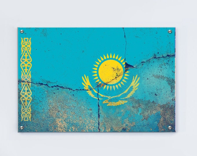 Kazakhstan Flag Graffiti Wall Art Printed on Brushed Aluminum