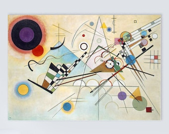 Composition 8 (1930) by Wassily Kandinsky Masterpiece Reproduction Printed in Refined Aluminum