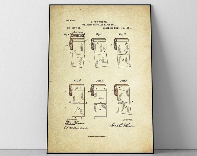 Toilet paper Roll  Patent Poster wall decor (1891 by S. Wheeler)