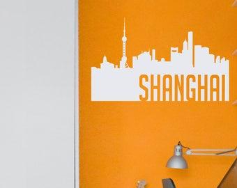 Shanghai Skyline Silhouette Decal