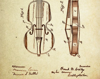 Violin Patent Poster wall decor (1921 by Frank M Ashley)