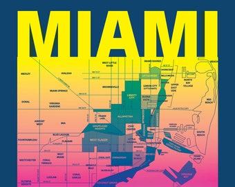 Miami Florida Neighborhood Map Poster