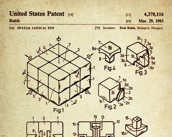 Rubik's Cube Patent Poster wall decor (1983 by Erno Rubik)