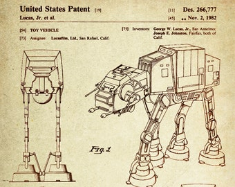 Star Wars AT-AT(All Terrain Armored Transport) Patent Poster Wall Decor ( Registered in 1982 by George W Lucas Jr)
