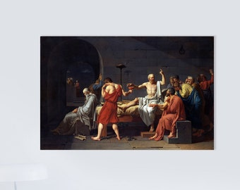 The Death of Socrates (1787) by Jacques-Louis David Masterpiece Reproduction Printed in Refined Aluminum