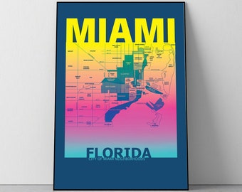 Miami Florida Neighborhood Map Poster
