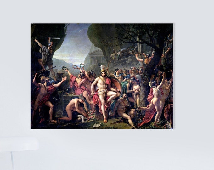Leonidas at Thermopylae (1814) by Jacques-Louis David Masterpiece Reproduction Printed in Refined Aluminum