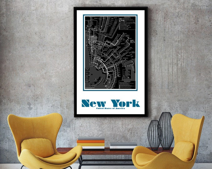 New York City Subway Map Wall Art Decor