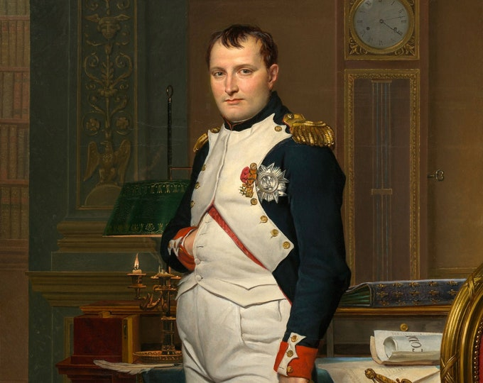 The Emperor Napoleon in His Study at the Tuileries -  Jacques-Louis David Masterpiece Reproduction Printed in Refined Aluminum