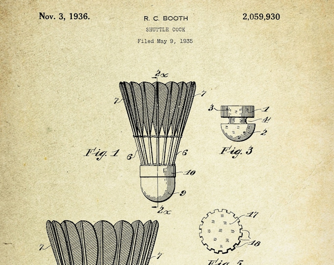 Shuttle Cock Patent Poster (1936, R.C. Booth)