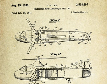 Helicopter with Antitorque Tail Jet Patent Poster (1950, J.G. Lee)