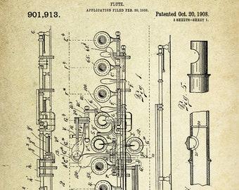 Flute Patent Poster (1908, D. Julliot)