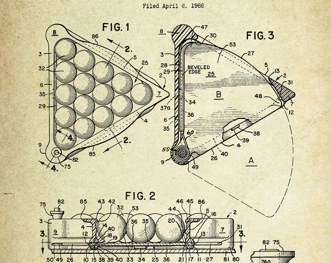 Billiard Ball Rack Patent Poster (1940, C.H. Weicker)