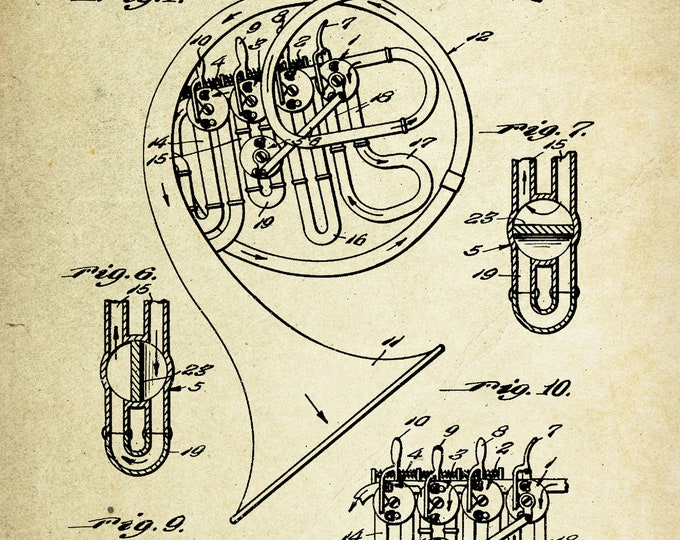 French Horn Patent Poster (1945, C.F. Hubley)
