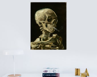 Skeleton with Burning Cigarette (1885) by Vincent Van Gogh Masterpiece Reproduction Printed in Refined Aluminum