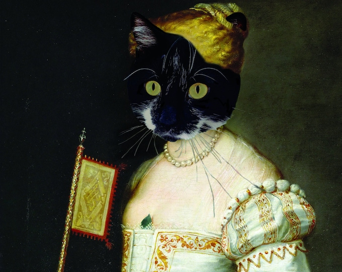"Renaissance Pet Portrait - Paul Ruben's ""Lady in White"" on Refined Aluminum"