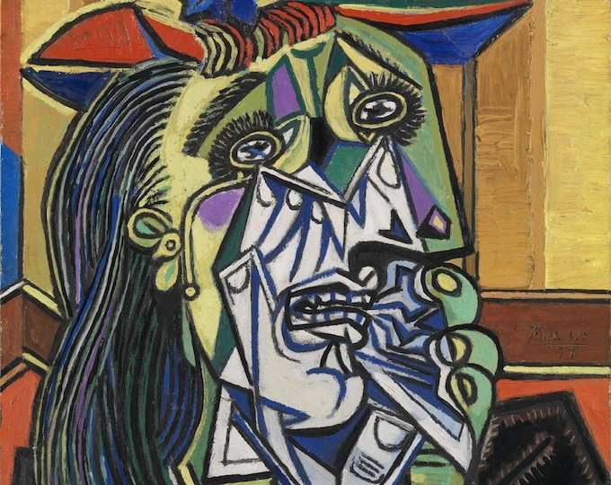 The Weeping Woman  (1937) by Pablo Picasso Masterpiece Reproduction Printed in Refined Aluminum
