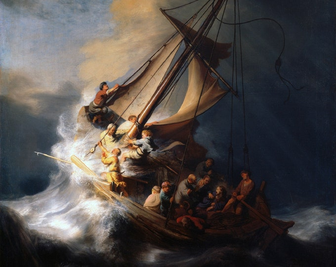 The Storm on the Sea of Galilee (1633) by Rembrandt Masterpiece Reproduction Printed in Refined Aluminum