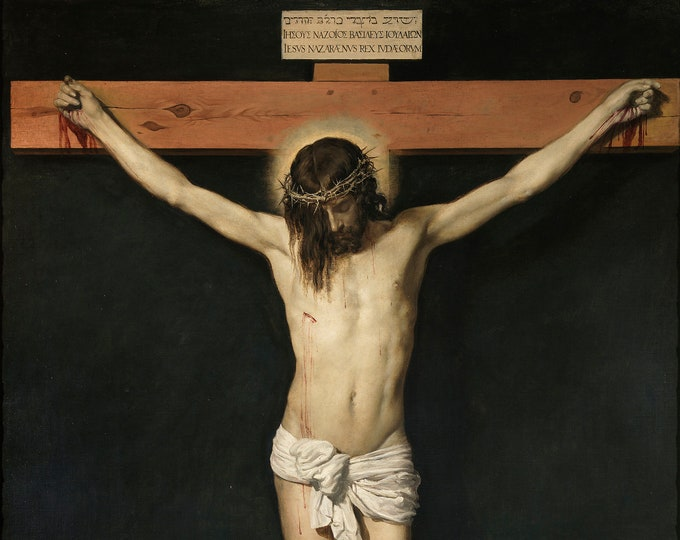 Christ Crucified  (1632) Diego Velazquez Masterpiece Reproduction Printed in Refined Aluminum