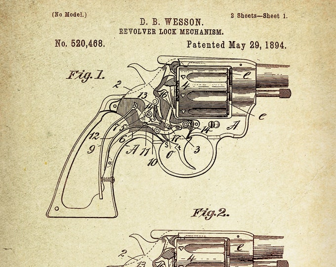 Revolver Lock Mechanism Patent Poster wall decor (1894 by D.B Wesson)
