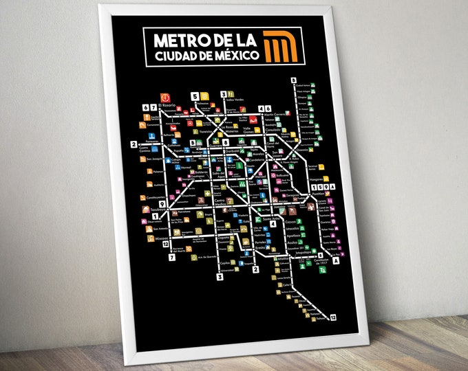 Mexico City Subway Map Printed on Refined Aluminum