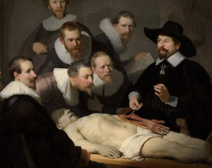 The Anatomy Lesson of Dr. Nicolaes Tulp (1632) by Rembrandt Masterpiece Reproduction Printed in Refined Aluminum