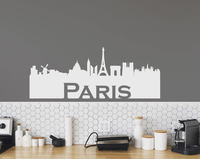 Paris Skyline Silhouette Decal for walls, laptops or bumper sticker