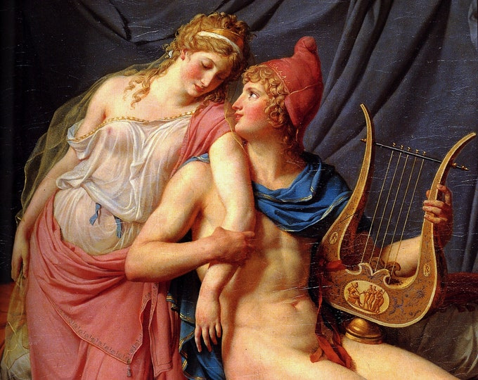 The Loves of Paris and Helen (1788) -  Jacques-Louis David Masterpiece Reproduction Printed in Refined Aluminum