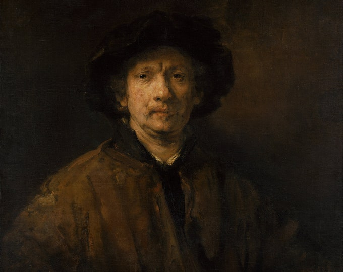 Rembrandt Self Portrait (1652) by Rembrandt Masterpiece Reproduction Printed in Refined Aluminum