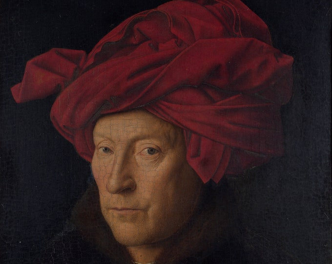 Portrait of a Man in a Red Turban (1433) by Jan Van Eyck Masterpiece Reproduction Printed in Refined Aluminum