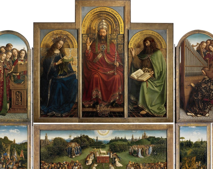 Ghent Altarpiece (1432) by Jan Van Eyck Masterpiece Reproduction Printed in Refined Aluminum