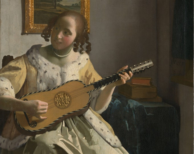 The Guitar Player  (1672) by Johannes Vermeer Masterpiece Reproduction Printed in Refined Aluminum