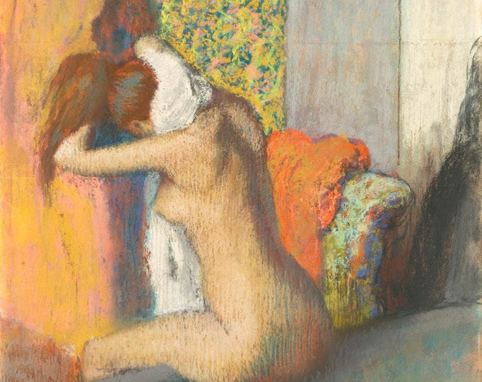 After The Bath, woman drying her neck (1895–98) by Edgar Degas Masterpiece Reproduction Printed in Refined Aluminum