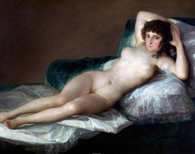The Naked Maja  (1797-1800) by Francisco Goya  Masterpiece Reproduction Printed in Refined Aluminum