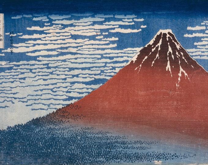 Red Fuji  (1829–1833) by Katsushika Hokusai Masterpiece Reproduction Printed in Refined Aluminum