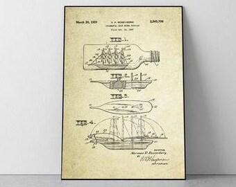 Ship in a Bottle Patent Poster (1951, N.P. Rosenberg)