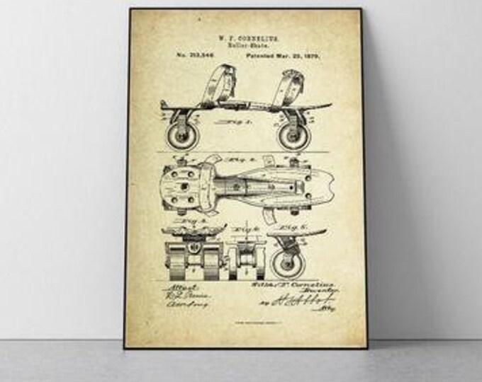 Roller Skate Patent Poster (1879, W.F. Cornelius)