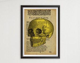 Vintage Human Skull, Shakespearean Inspired Art Poster