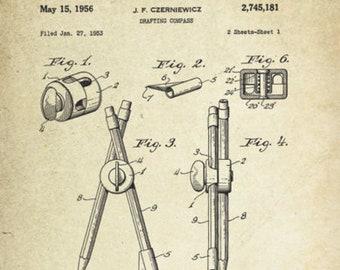 Compass Patent Poster (1953, J.F. Czerniewcz)