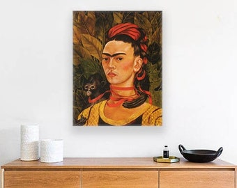 Frida Kahlo Self-Portrait with Monkey (1940) Masterpiece Reproduction Printed in Refined Aluminum