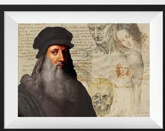Leonardo Da Vinci Scientist Portrait Poster